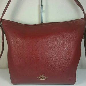 Vintage Coach leather red hobo duffle bag